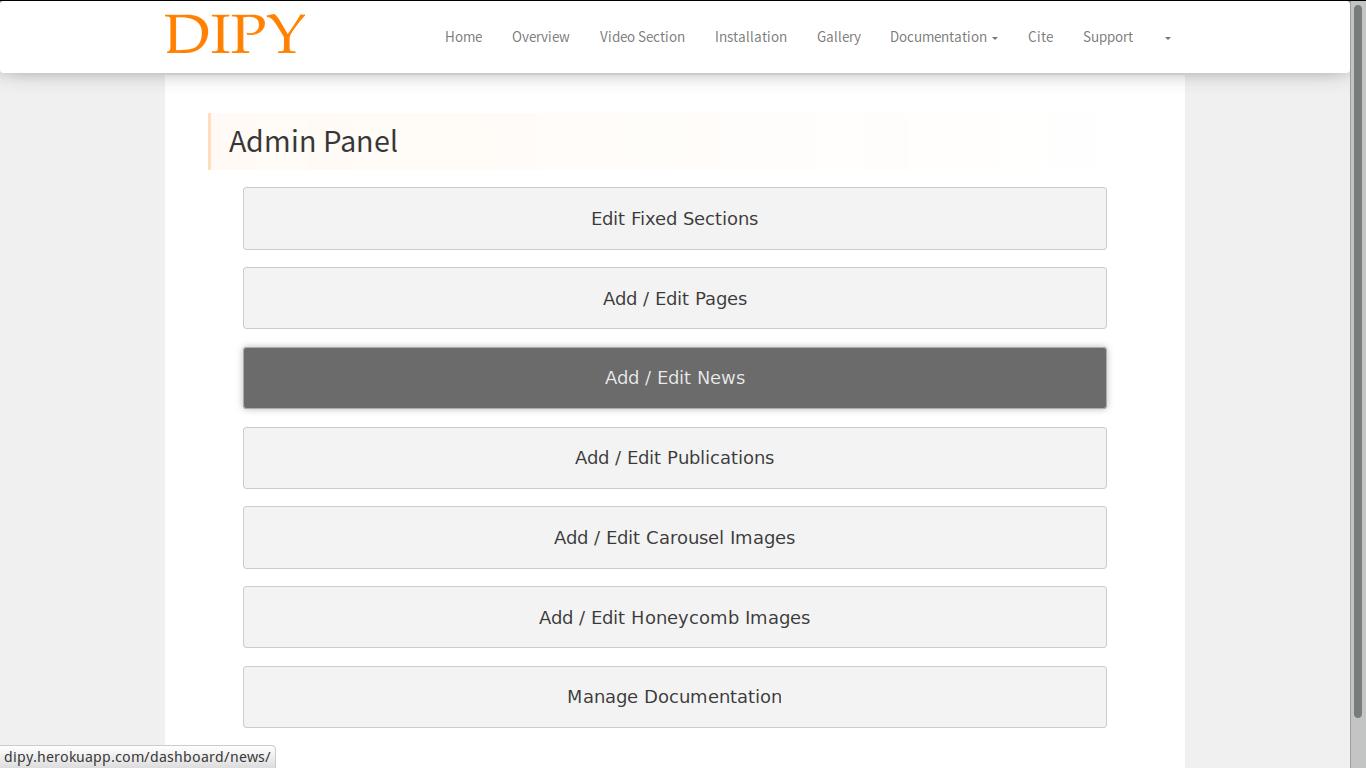 dipy admin panel dashboard screenshot