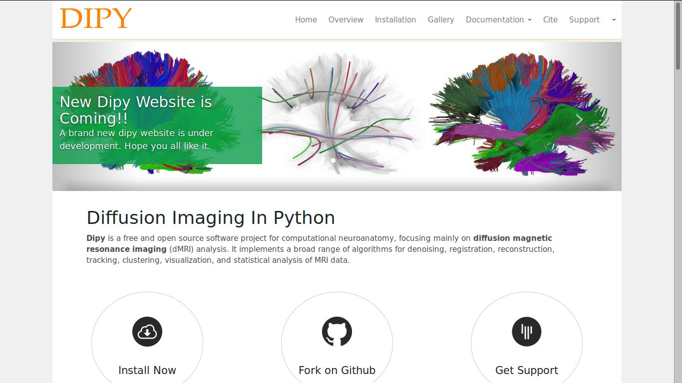 dipy home page screenshot